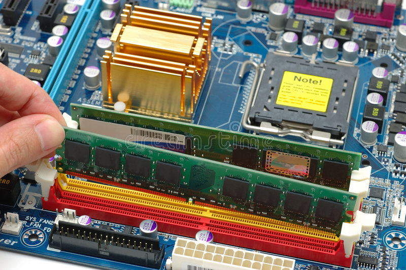 Installing computer ram royalty free stock photo