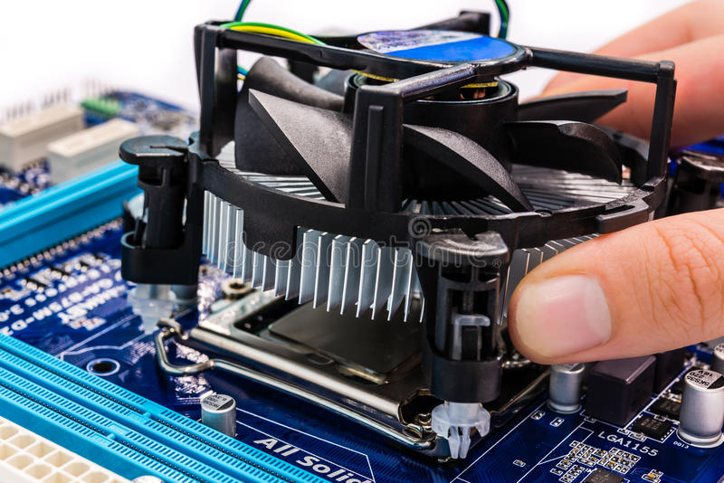 Computer Cooling System : Installing cpu cooler stock photo image of