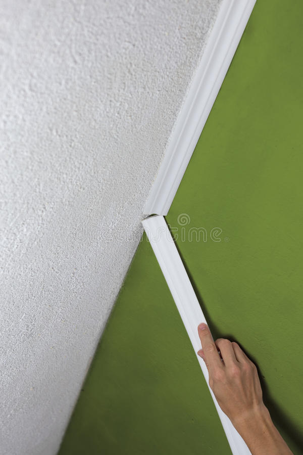 Installing crown molding on ceiling in room with painted wall. Fragment of molding, horizontal view. Installing crown molding on ceiling in room with painted royalty free stock photos