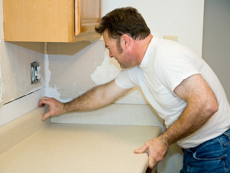 Installing Laminate Counter Top stock image