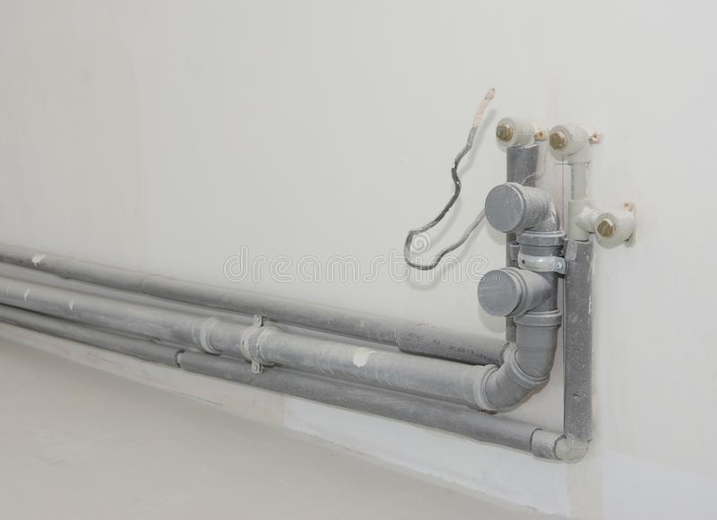 Installing The Plumbing For A Kitchen Sink Replacing And Repair Kitchen Sink Pvc Pipes P Trap Center Joints Stock Photo Image Of Equipment Bath 128668336