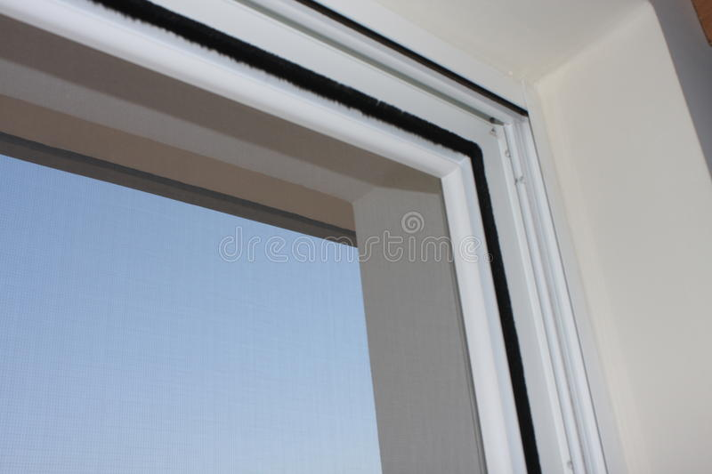 Installing pvc window in house royalty free stock photography