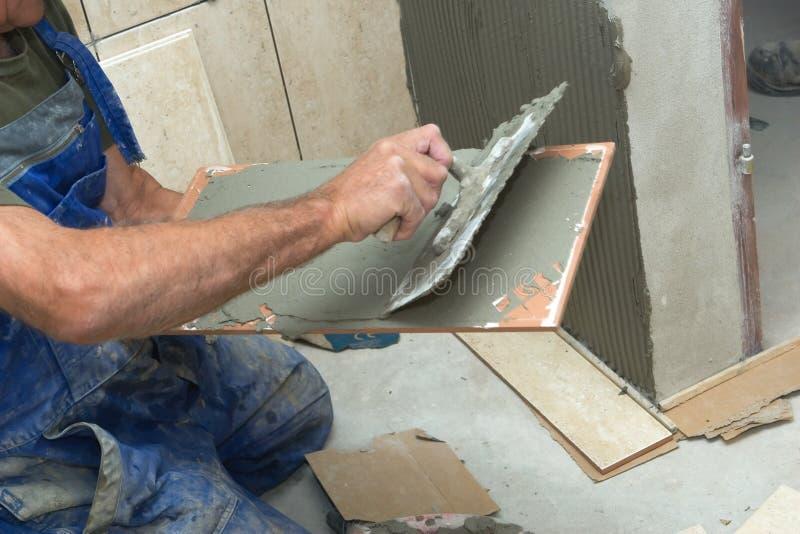 Installing Tiles Stock Image