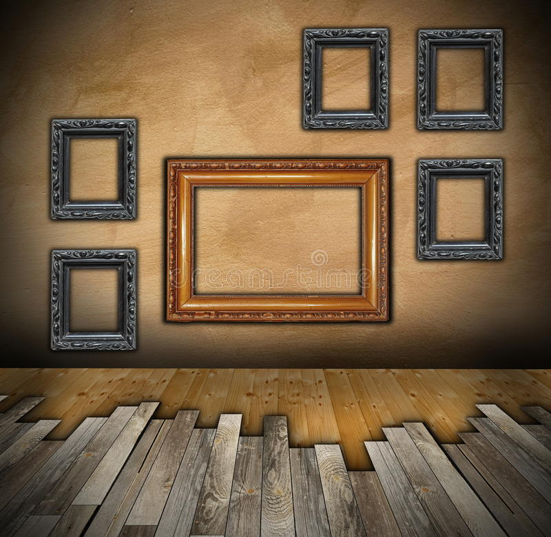 Installing wooden floor on interior backdrop royalty free stock image