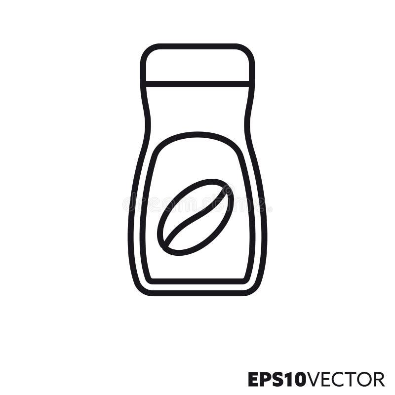 Instant coffee jar vector line icon stock illustration