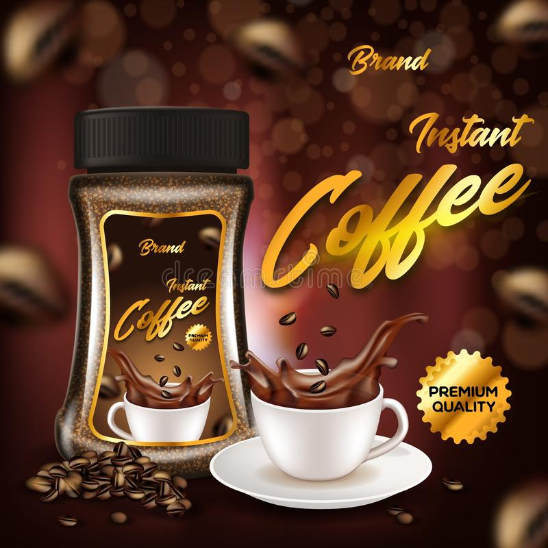 Instant Coffee Premium Quality Advertising Banner. Instant Coffee of Premium Quality Advertising Banner, Glass Bottle and White Porcelain Cup on Plate with Black royalty free illustration
