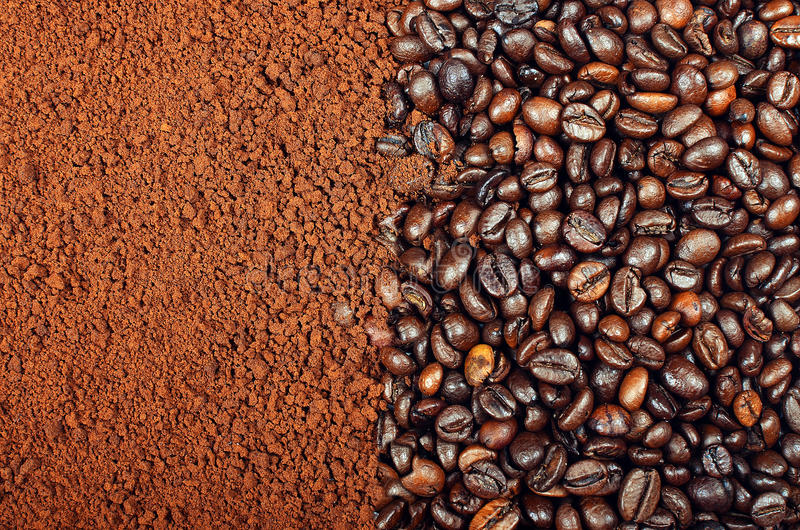 Download INSTANT COFFEE VS COFFEE BEANS Stock Image - Image: 32766393