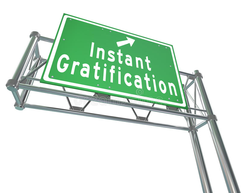Instant Gratification Freeway Green Road Sign Satisfaction. Instant Gratification words and arrow on a green freeway road sign to provide direction to quick or royalty free illustration