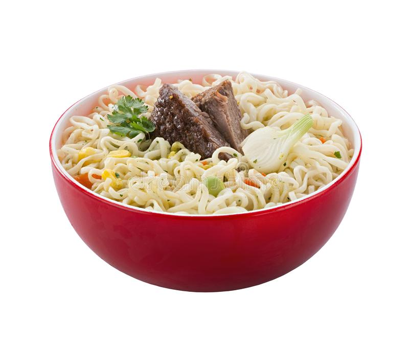 The noodles in the red bowl stock photos