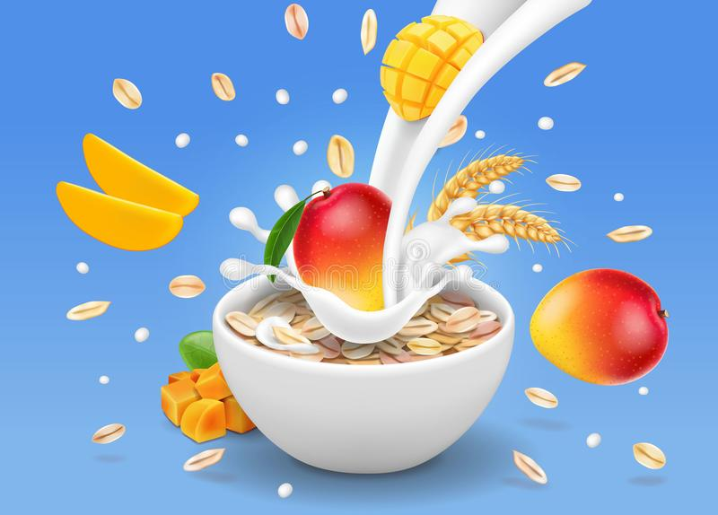 Instant oatmeal mango advertising Milk flowing into a bowl with grain. royalty free illustration