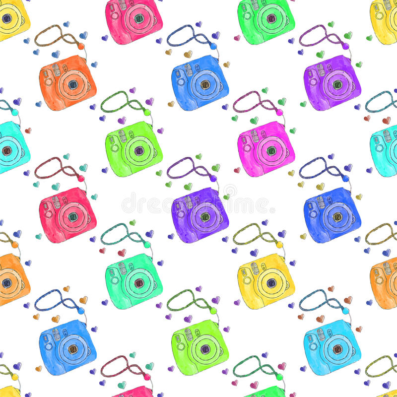 Download Instant Photo Camera Seamless Pattern With Cameras Hand Drawn Background Vector