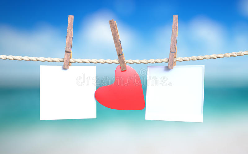 Instant photos and heart vector illustration