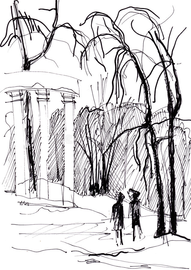Instant sketch, colonnade. Instant sketch, two people near colonnade royalty free illustration