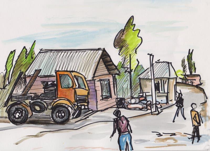 Instant sketch, truck royalty free illustration