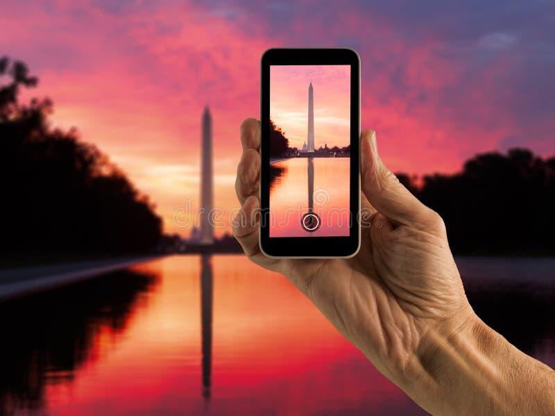 Instantané de Washington Monument au lever de soleil photos libres de droits