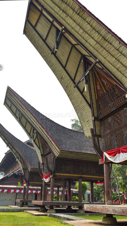 Traditional House of Toraja. Traditional House of Tana Toraja from Southern Sulawesi Indonesia replicated in Taman Mini Indonesia Indah TMII stock image