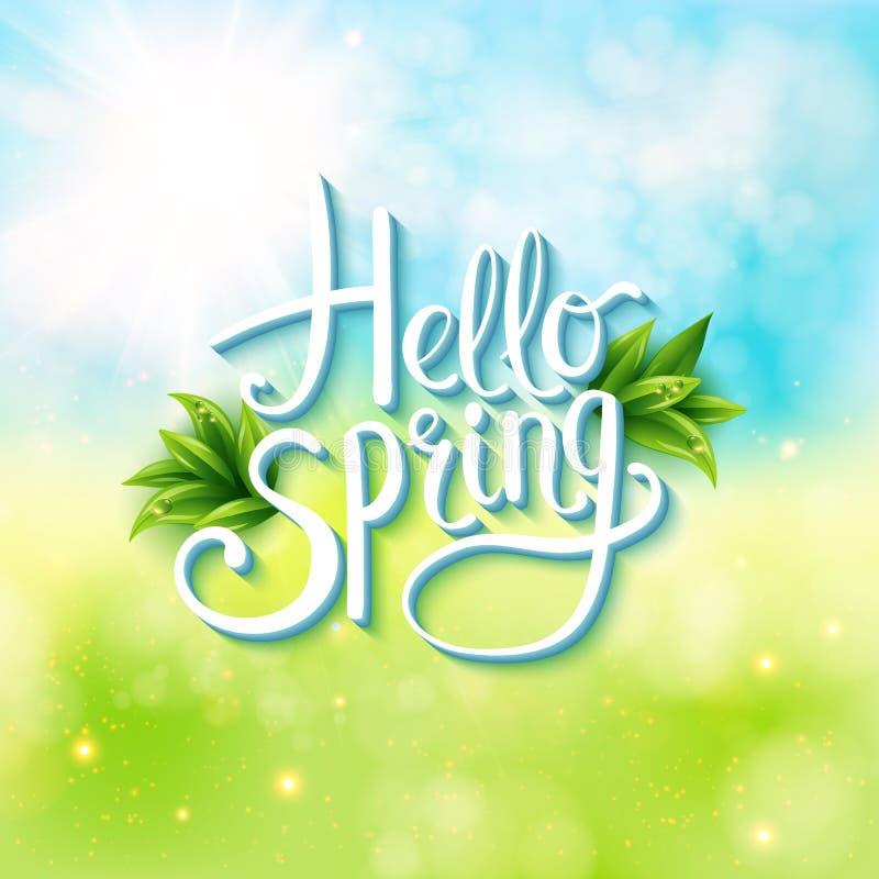 Instemmend met de lente - Hello-de Lente royalty-vrije illustratie