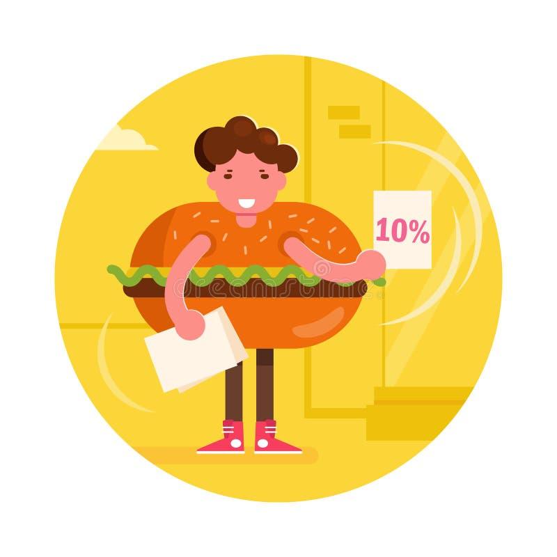 Instigateur dans un vecteur de costume d'hamburger cartoon Art d'isolement illustration libre de droits