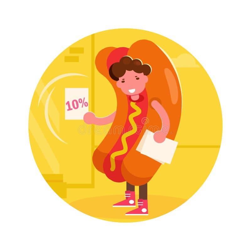 Instigateur dans un vecteur de costume de hot-dog cartoon Art d'isolement illustration libre de droits