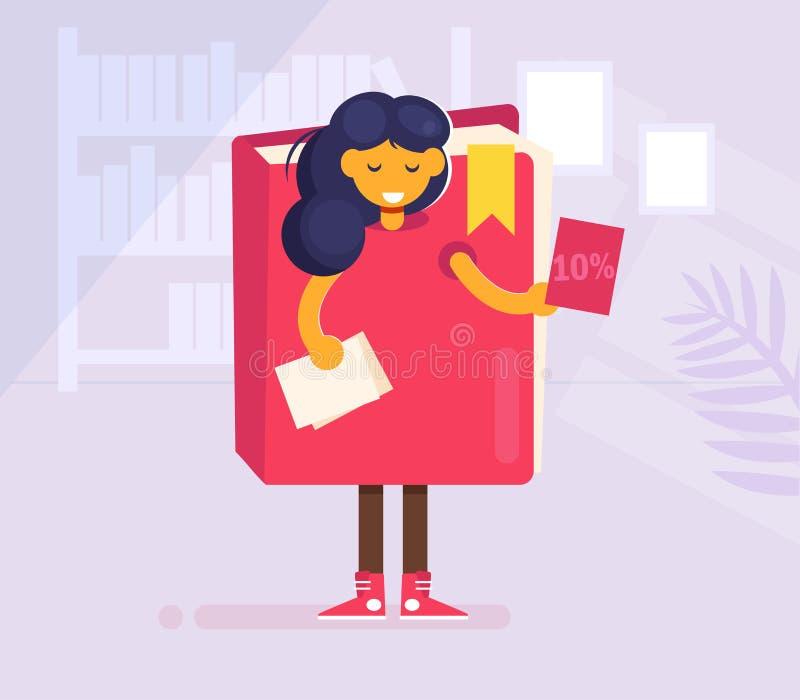 Instigateur distribuant la fille d'insectes dans un vecteur de costume de livre cartoon Art d'isolement illustration de vecteur