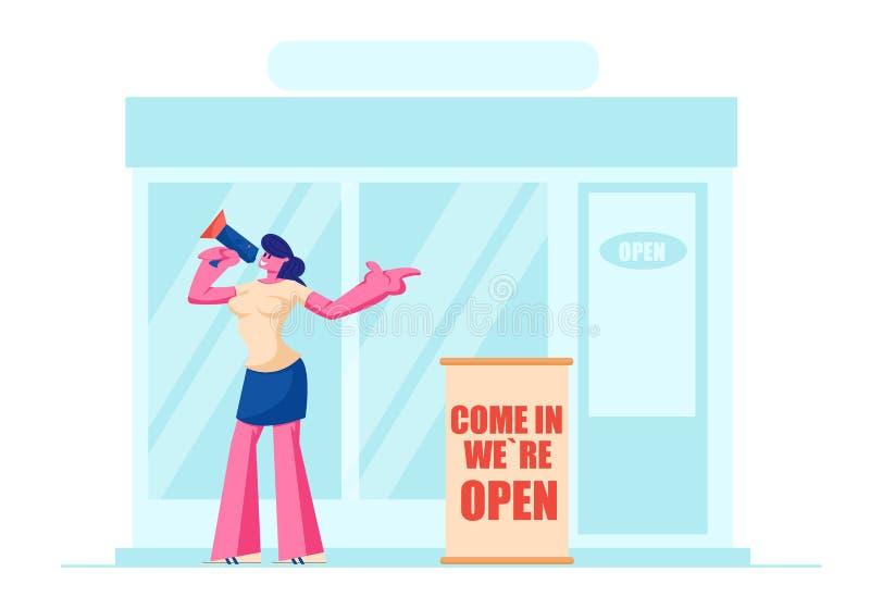 Instigatrice, propriétaire ou vendeuse amicale de fille avec les personnes de invitation de mégaphone pour visiter la position d' illustration stock