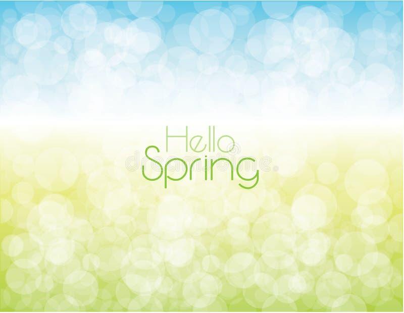 Instinto ligero de las burbujas del cielo y de la hierba del fondo de la primavera libre illustration