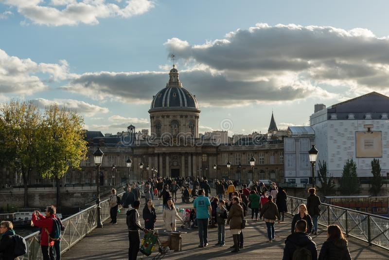 Institut de France in Paris in late October. Viewed from across Pont des Arts royalty free stock photography