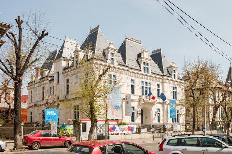 Institut Francais de Roumanie building facade in central Boucharest royalty free stock photo
