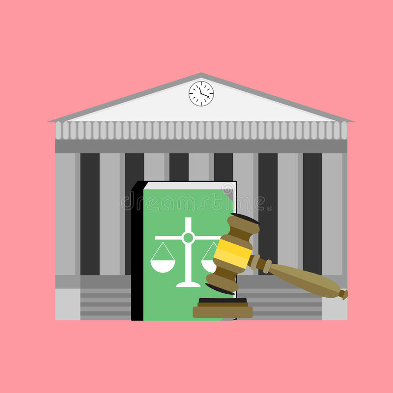 Institute of court and law. Legislation punishment, mallet and book. Vector illustration vector illustration