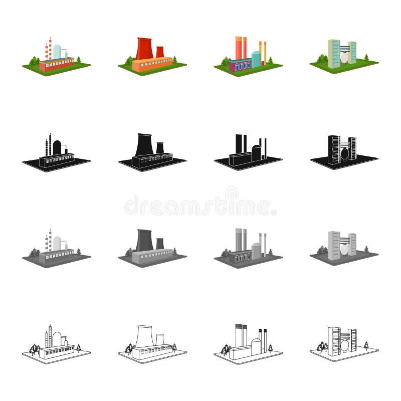 Institution, firma, byggnad och annan rengöringsduksymbol i tecknad filmstil Företag organisation, företag, symboler i uppsättnin royaltyfri illustrationer