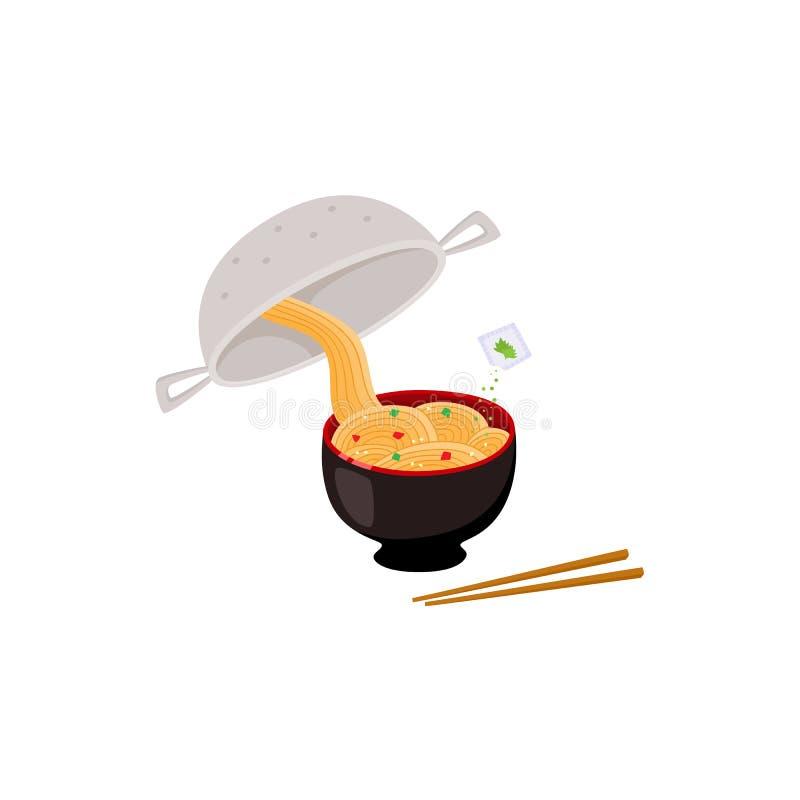 Instrução de cozimento de como preparar o macarronete imediato com escorredor e espaguetes na bacia ilustração do vetor