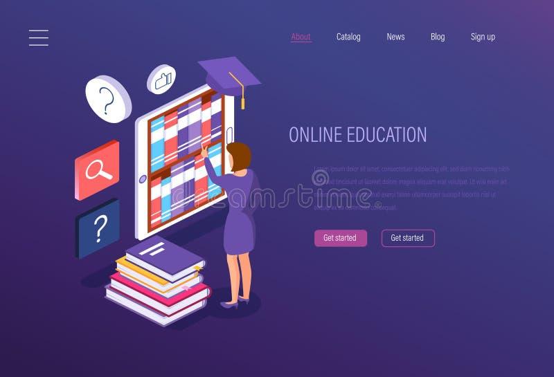 Instrução em linha Curso de formação, ensino eletrónico, seminários, estudos da universidade, aquisição de conhecimento ilustração royalty free