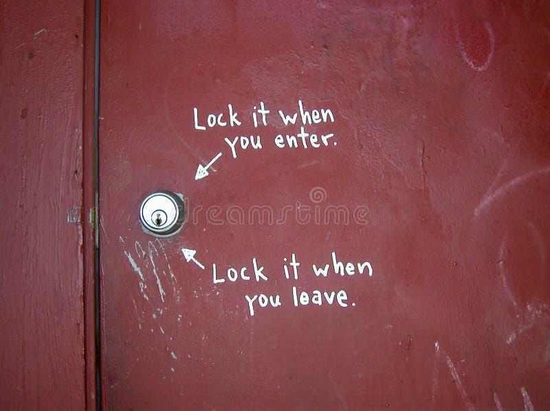 Instruções da porta fotografia de stock