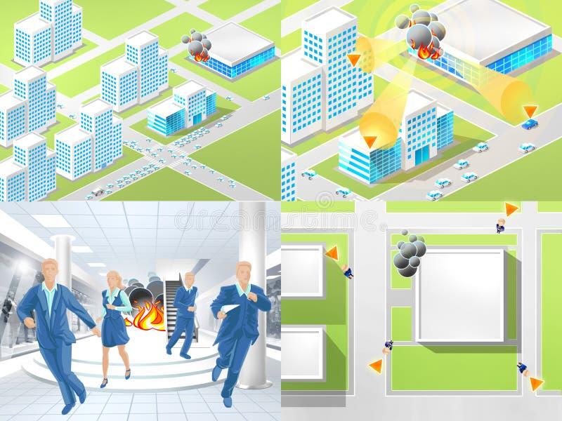Instruções em caso do incêndio ilustração stock