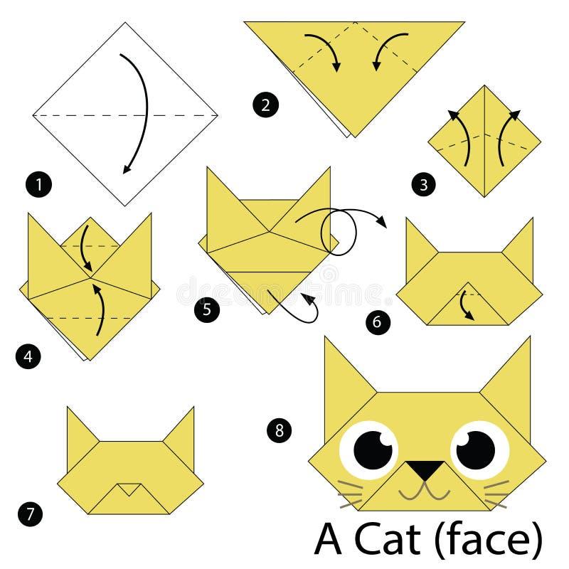 Instruções passo a passo como fazer a origâmi um gato ilustração do vetor