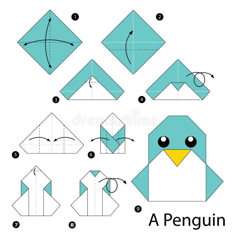 Instruções passo a passo como fazer a origâmi um pinguim ilustração royalty free