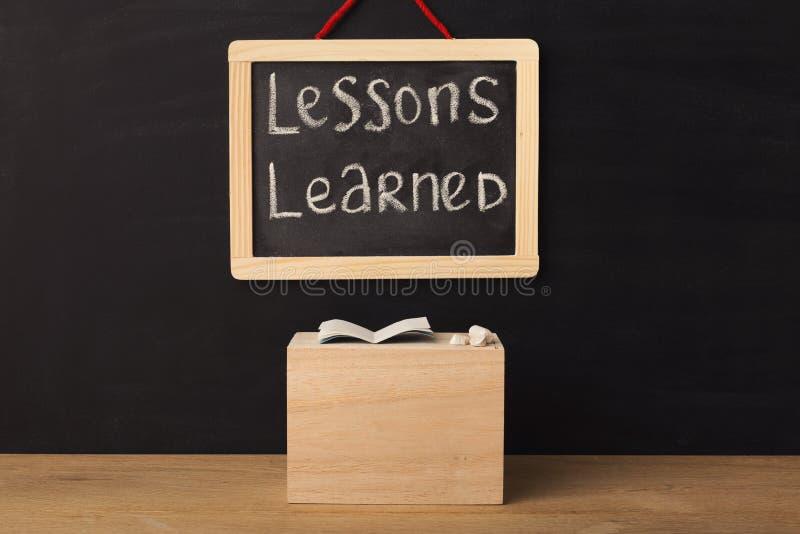 Instruído de lições da palavra escrito no quadro diminuto fotos de stock