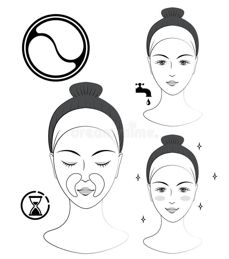 Instrucción: Cómo aplicar remiendos cosméticos nasolabiales Skincare Ejemplo blanco y negro del vector libre illustration