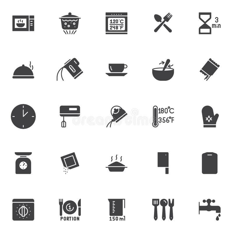 Instrucciones de cocción e iconos del vector del artículos de cocina fijados libre illustration