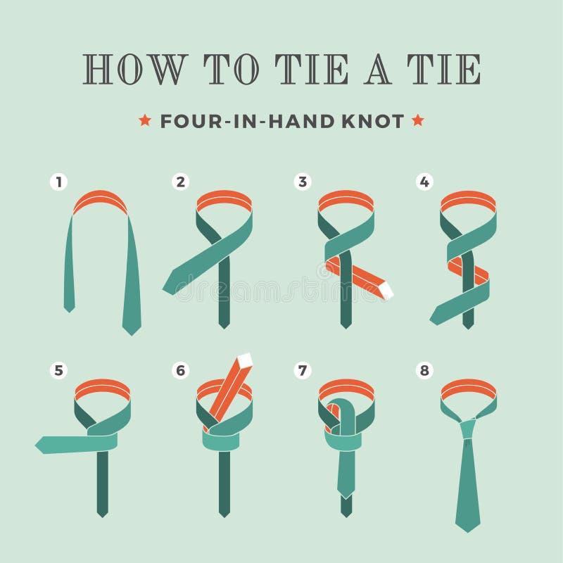 Instrucciones en cómo atar un lazo en el fondo de la turquesa de los ocho pasos Cuatro nudos disponibles Ilustración del vector stock de ilustración