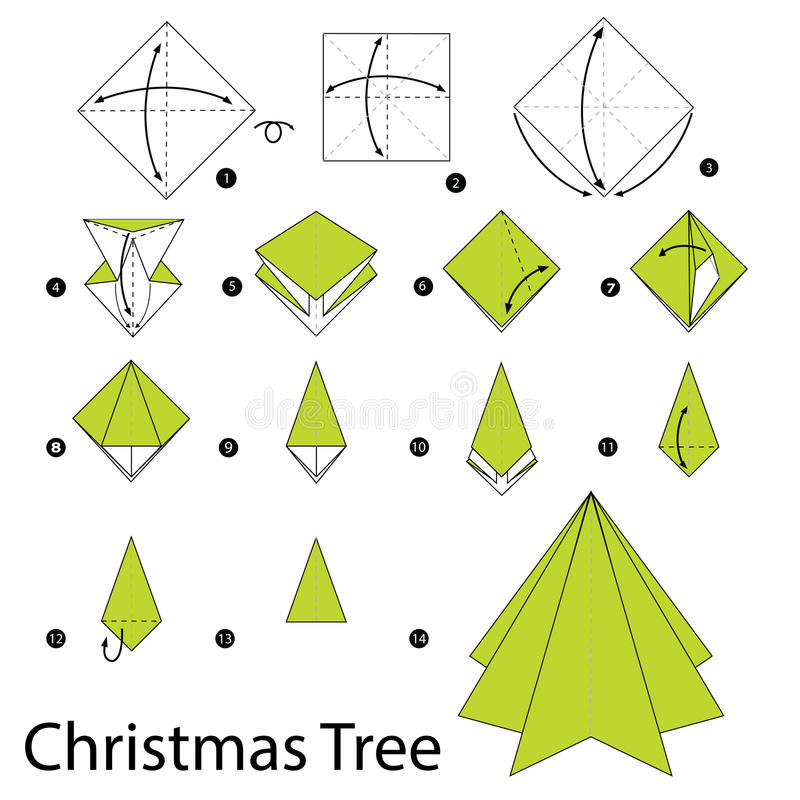 Instrucciones paso a paso cómo hacer el árbol de navidad de la papiroflexia ilustración del vector