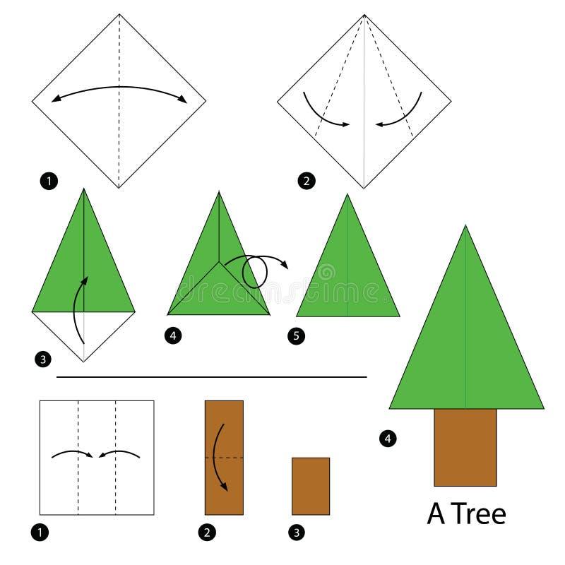 Instrucciones paso a paso cómo hacer papiroflexia un árbol ilustración del vector