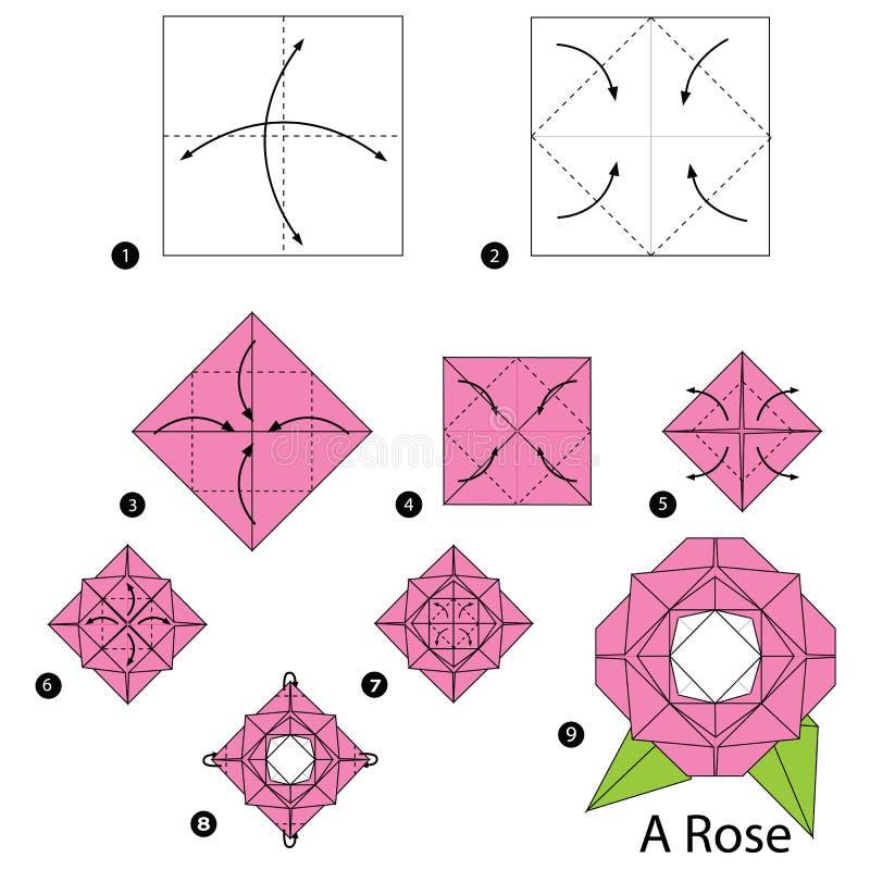 instrucciones paso a paso c mo hacer papiroflexia a una rose ilustraci n del vector. Black Bedroom Furniture Sets. Home Design Ideas