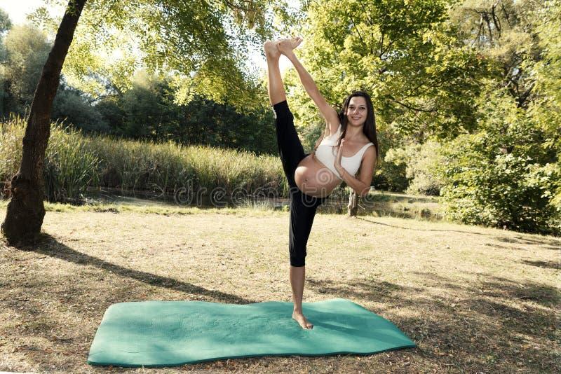 Instructeur Pregnancy van de Wellness de Opleidende Yoga stock afbeelding