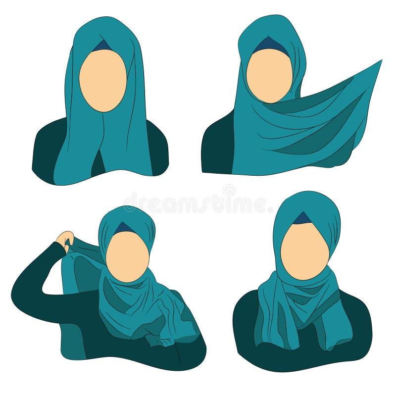 Instructies hoe te om Moslim te dragen hijab vector illustratie