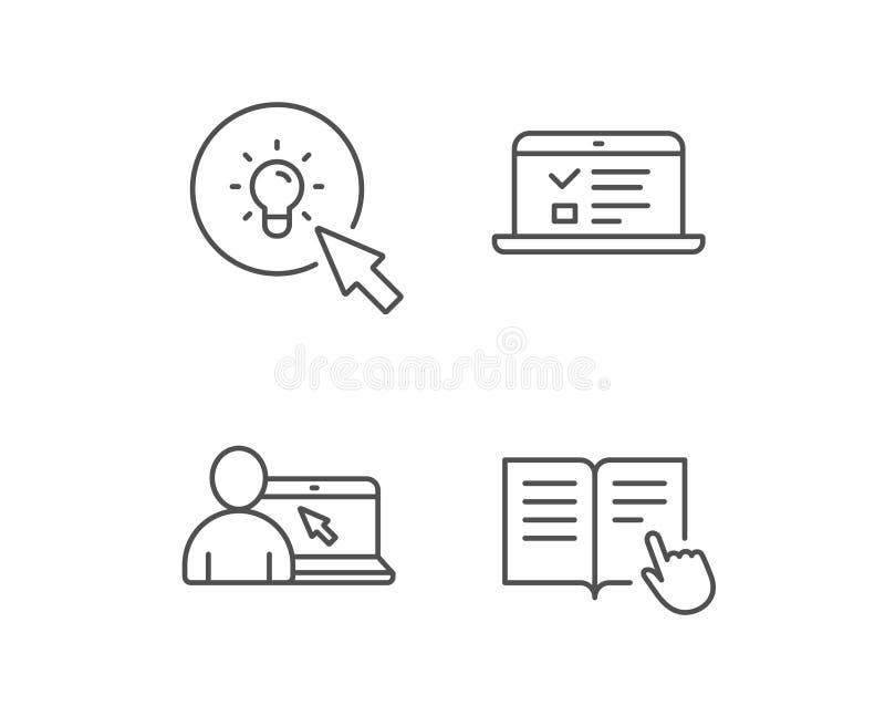 Instructies, Idee en Online onderwijspictogrammen vector illustratie