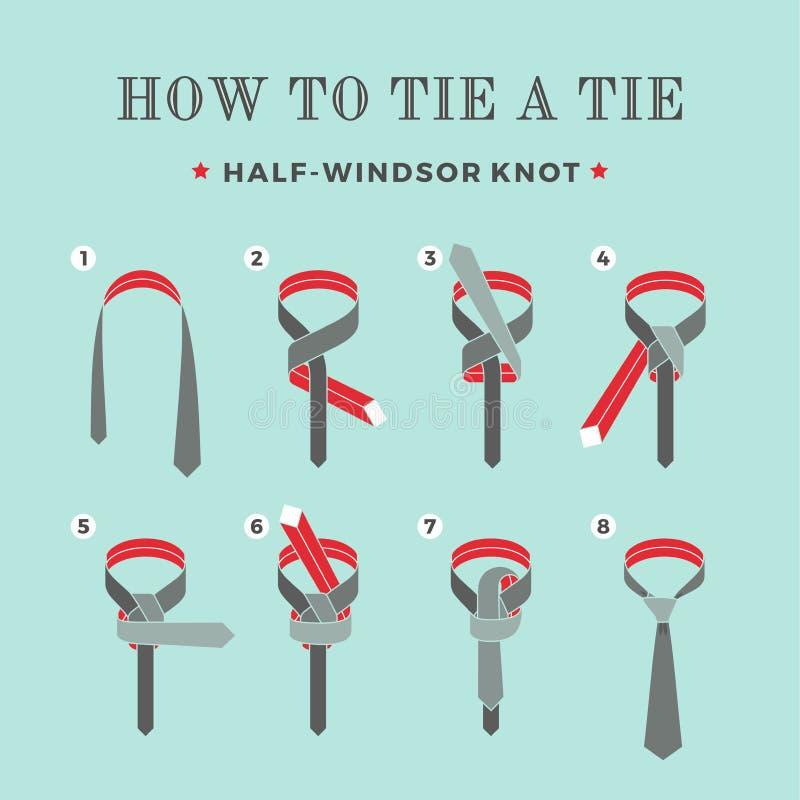 Instructies op hoe te om een band op de turkooise achtergrond van de acht stappen te binden Knoop helft-Windsor Vector illustrati royalty-vrije illustratie