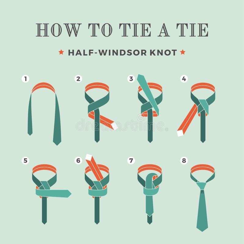 Instructies op hoe te om een band op de turkooise achtergrond van de acht stappen te binden Knoop helft-Windsor Vector illustrati stock illustratie