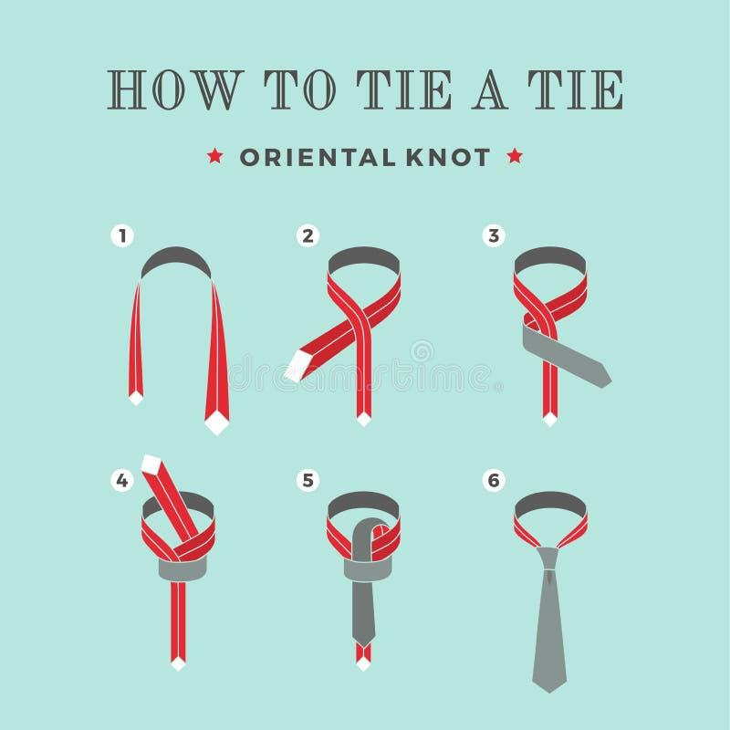 Instructies op hoe te om een band op de turkooise achtergrond van de zes stappen te binden Oosterse knoop Vector illustratie royalty-vrije illustratie