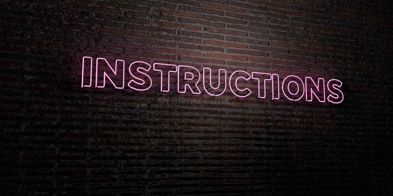 INSTRUCTIES - Realistisch Neonteken op Bakstenen muurachtergrond - 3D teruggegeven royalty vrij voorraadbeeld stock illustratie